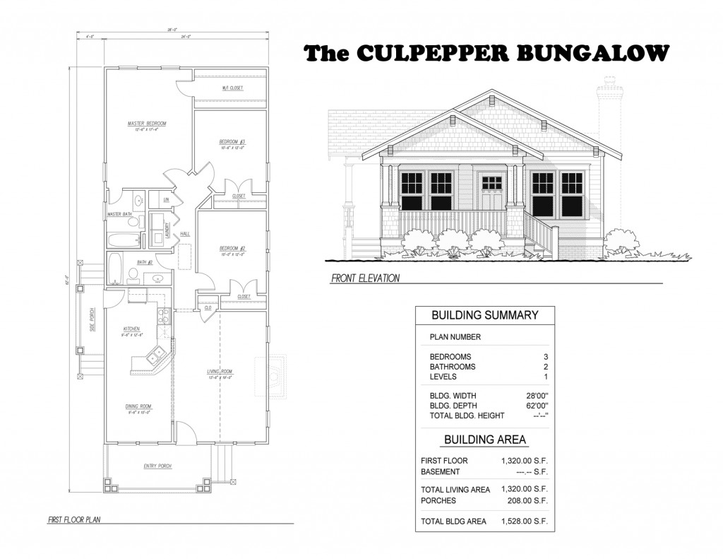 One Story Three Bedroom Bungalow Culpepper